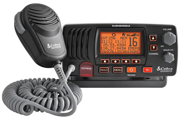 MRF57B / FIXED MARINE VHF RADIO w/ REWIND, BLACK