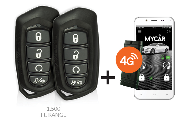 CA5055-T3 / 4 BUTTON REMOTE STARTER / KEYLESS ENTRY WITH MYCAR (3 YEAR PLAN)