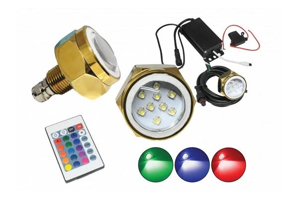 "SEADP1RGB / 1.5"" Marine-Grade RGB LED Underwater Drain Plug Replacement"